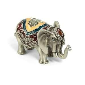 Elephant Crystal Studded Pewter Jewelry Trinket Box