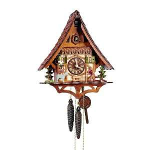 Cuckoo Clock Black Forest house with moving wanderer