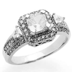 14K White Gold Engagement Ring 1ctw CZ Cubic Zirconia