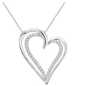 10k White Gold Diamond Heart Pendant Necklace (1/5 cttw, H I Color, I2
