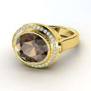 Ring, Oval Smoky Quartz 14K Yellow Gold Ring with Diamond Jewelry