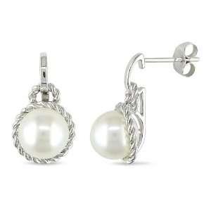 White Gold White Freshwater Pearl Ear Pin Earrings (8 8.5 mm) Jewelry