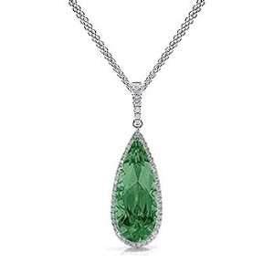71Ct Pear Cut Emerald & Diamond Accented Pendant 18k Gold Jewelry