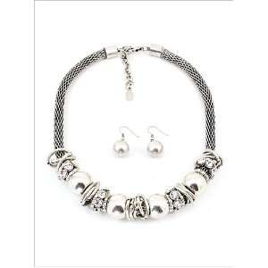 Fashion Jewelry Desinger Inspired Silver Oxidized Mixed Metal Necklace