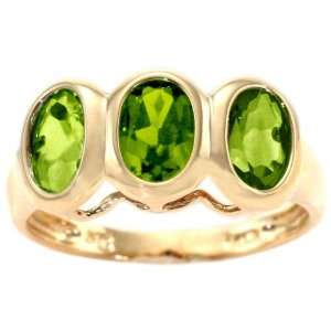 Gold Three Stone Oval Gemstone Ring Peridot, size8.5 diViene Jewelry