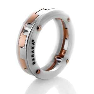 Baraka 18K White & Rose Gold White Ceramic Ring NEW Baraka Jewelry