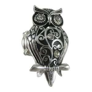 Chrome Finish Rhinestone Accented Owl Stretch Ring Jewelry