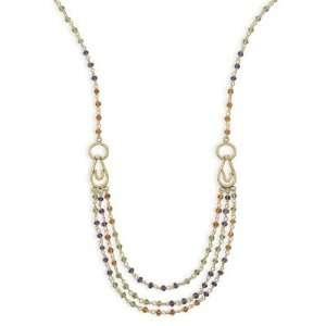 18 14 Karat Gold Plated Multistone Necklace Jewelry