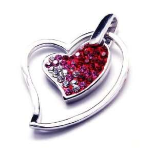 Heart Shape 925 Sterling Silver Red or Yellow Color Pendant