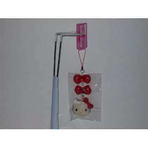 Hello Kitty Red Plush Ribbon Strap Zipper Pull Cell Phone