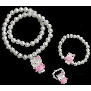 Charm Hello Kitty Necklace Ring Bracelet Set  Toys & Games