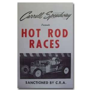 1952 Carrell Speedway Hot Rod Racing Poster Print
