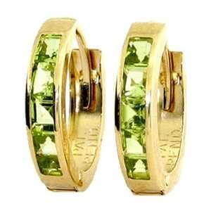 Genuine Princess Peridot 14k Gold Hoop Huggie Earrings Jewelry