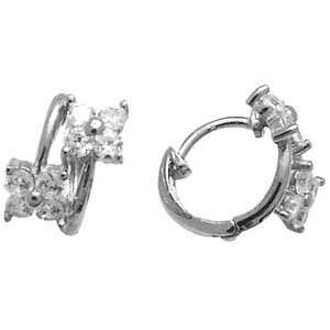 Flowering Glamour 14K White Gold Huggie Earrings Jewelry