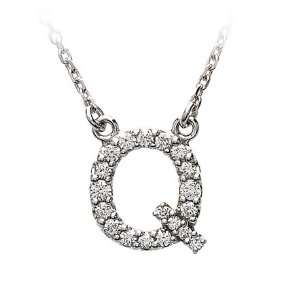 Diamond Initial Necklace in 14 Karat White Gold, Letter Q