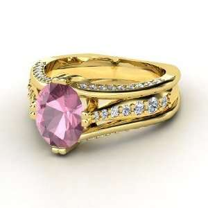 Ring, Oval Pink Tourmaline 14K Yellow Gold Ring with Diamond Jewelry