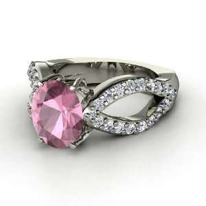 Ring, Oval Pink Tourmaline 14K White Gold Ring with Diamond Jewelry