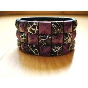 Purple Line Checkered Studded Leather Bracelet