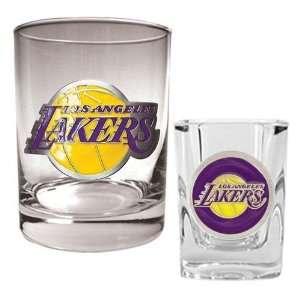 Los Angeles Lakers Rocks Glass & Shot Glass Set   Primary Logo