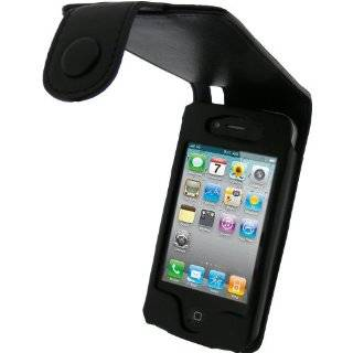 igadgitz Black Genuine Leather Case Cover Holder for Apple iPhone 4 HD
