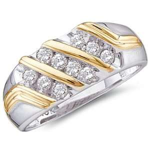 Men Diamond Wedding Ring 10k Yellow White Gold Engagement Band (1/2ct