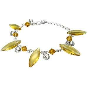 Shop  Fashion Crystal Glass Beads Oval Bell Charm Bracelet/Anklet