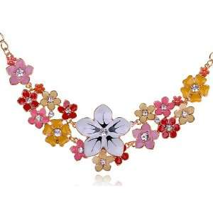 Painted Clear Crystal Rhinestone Floral Pendant Necklace Jewelry