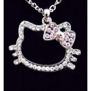 Kitty Large White & Pink Crystal Pendant Necklace