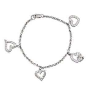 Silver and Cubic Zirconia Heart Quartet Charm Bracelet Jewelry