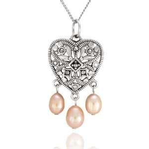 Sterling Silver Marcasite Heart and Pink Pearl Pendant, 18 Jewelry