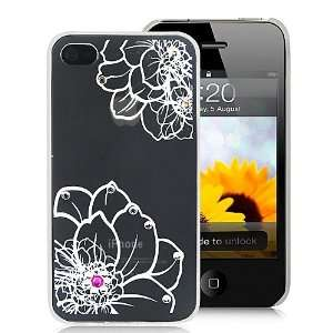 Beautiful Flower With Diamond Decorated Hard Case Cover For iPhone 4
