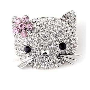 Hello Kitty Cat Pink Flower Pin Brooch Crystal CUTE
