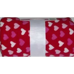 Soft Pink & Red Hearts Cozy Warm Fleece Throw Blanket