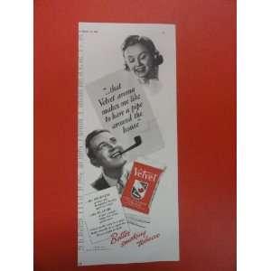 Velvet pipe tobacco Print Ad. woman/man/pipe. 1938 Vintage