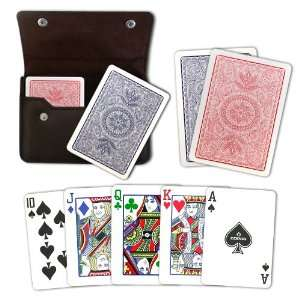 Copag Plastic Cards Leather Case Set Poker 4 Color Regular