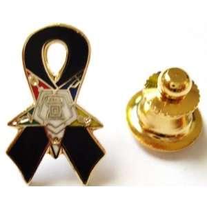 Star OES Black Ribbon Awareness POW MIA Lapel Pin
