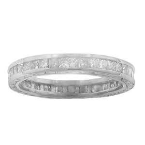 Womens Diamond Eternity Wedding Band Ring With Princess Cut Diamonds