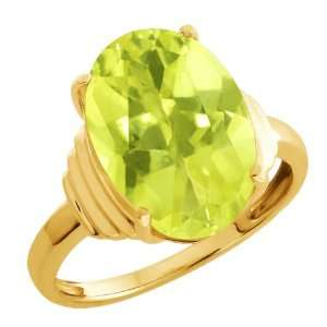 90 Ct Yellow Oval Lemon Quartz and White10k Yellow Gold Ring Jewelry