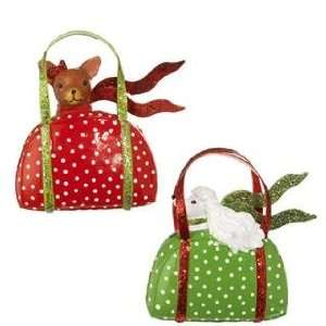 Vela Burke Dogs in Purses Christmas Ornaments Set of 2