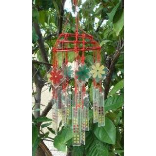 Recycled Wine Bottle Glass Windchime on Driftwood Patio