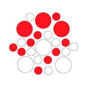 Set of 30   White / Red Circles Polka Dots Vinyl Wall