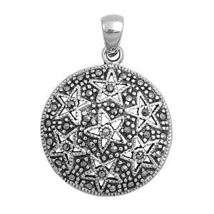 Sterling Silver Round Disc w/ Stars Pattern Marcasite Pendant Jewelry