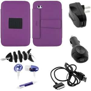 Purple Leather Case Folio with Built in Stand + USB Data Cables + USB