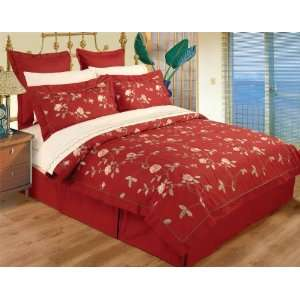 10 Piece King / Cal King Red Burgundy 100% Cotton High Quality