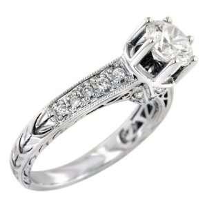 Round Cut Diamond Antique Style Engagement Ring Setting 18k White Gold