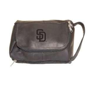 MLB San Diego Padres Black Leather Shaving Kit