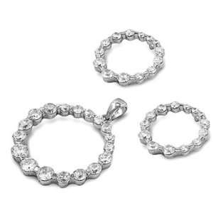 Sterling Silver & CZ Gradual Circle Earring & Necklace Set Jewelry