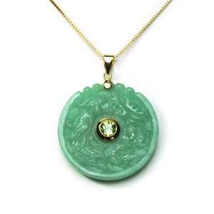 Silver Green Chinese Jade Large Donut Pendant with Peridot Jewelry