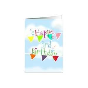Happy 3rd Birthday, singing blue birds on brightly colored