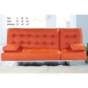 Trio Orange Leatherette Sofa Bed by At Home USA Home & Kitchen